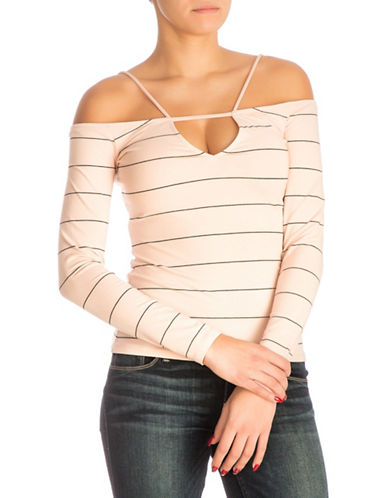 Guess Strappy Off-The-Shoulder Top-PASTEL PINK-Small