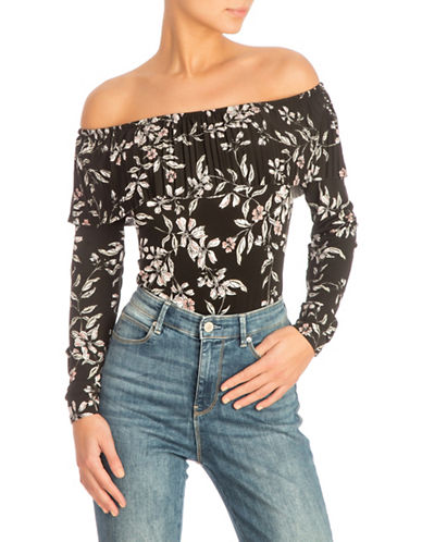 Guess Off The Shoulder Pleated Bodysuit-BLACK-Medium
