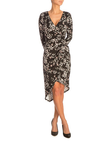 Guess Kellie Floral Wrap Dress-BLACK-Medium