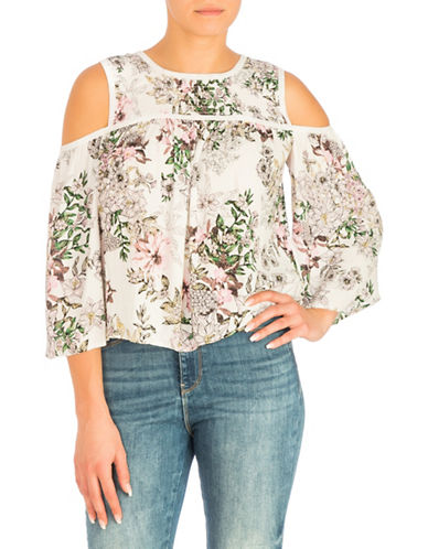 Guess Cold-Shoulder Printed Top-WHITE-X-Small 89938508_WHITE_X-Small