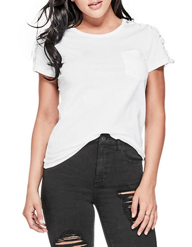 Guess Lace-Up Sleeve Tee-WHITE-Medium 89917387_WHITE_Medium