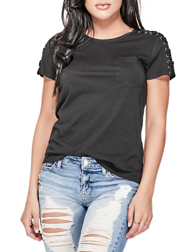 Guess Lace-Up Sleeve Tee-BLACK-X-Large 89917384_BLACK_X-Large