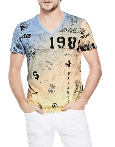Guess Graffiti Splatter V-Neck T-Shirt-BLUE-Small 89955563_BLUE_Small