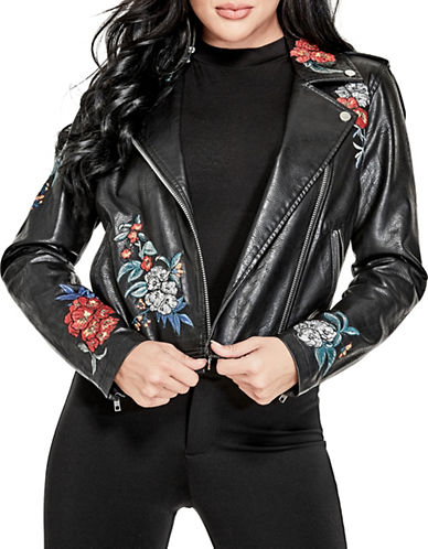 Guess Embroidered Moto Jacket-BLACK-Medium 89917300_BLACK_Medium