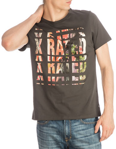 Guess X-Rated Graphic Crew Neck Tee-GREY-X-Large 89877011_GREY_X-Large