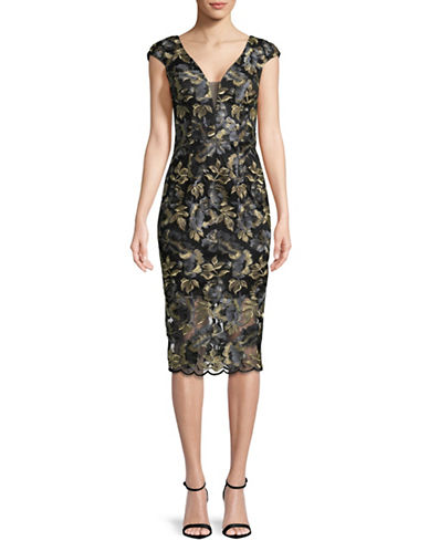 Xscape Floral Midi Dress-BLACK/GOLD-4