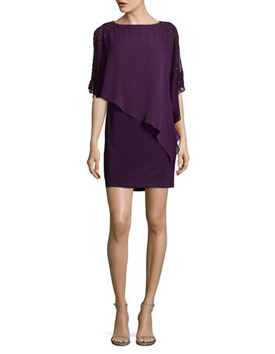 Xscape Beaded Chiffon Overlay Dress-PURPLE-2