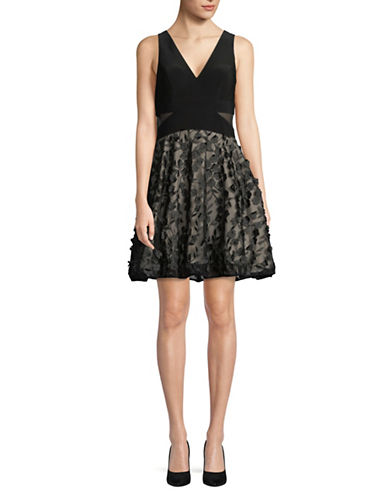 Xscape Floral Embellished Sleeveless Dress-BLACK-2