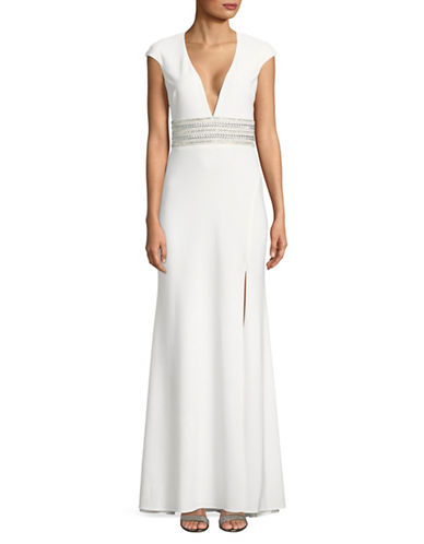 Xscape Cap-Sleeve Beaded Floor-Length Gown-WHITE-8