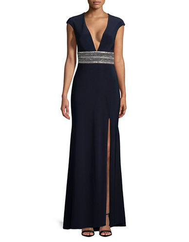 Xscape Cap-Sleeve Beaded Floor-Length Gown-NAVY-0