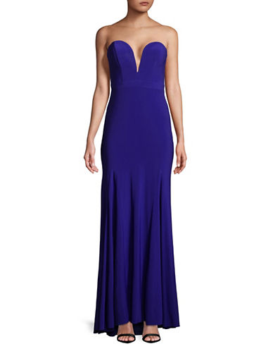 Xscape Strapless Deep V-Neck Gown-BLUE-14