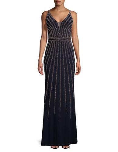 Xscape Sleeveless Embellished Mesh Gown-BLUE-10