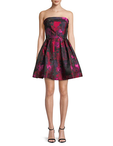 Xscape Floral-Print Strapless Fit-and-Flare Dress-PINK-10