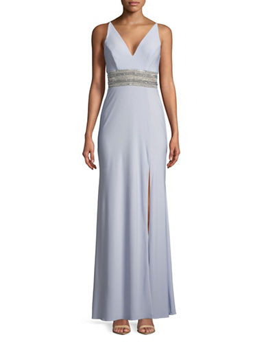 Xscape Sleeveless Belted Gown-BLUE-14