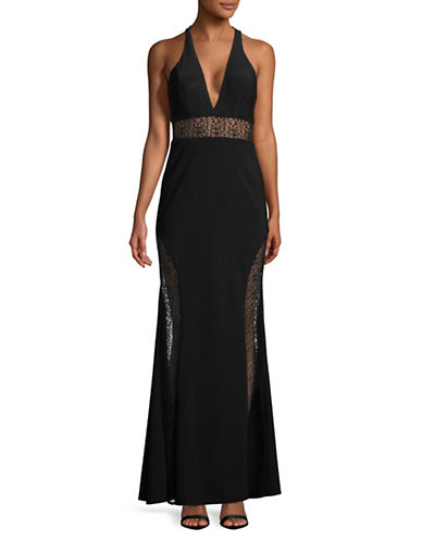 Xscape Sleeveless Lace Panel Gown-BLACK-2
