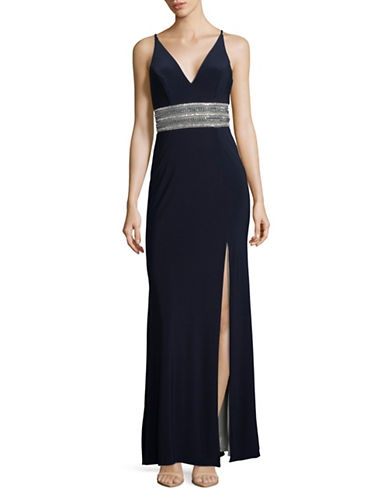 Xscape Sleeveless Belted Gown-NAVY-0