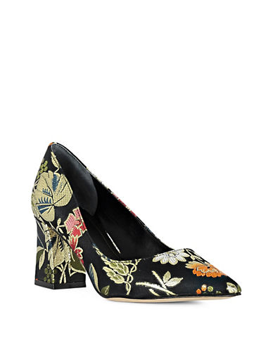 Marc Fisher Ltd Block Heel Point Toe Pumps-FLORAL-9