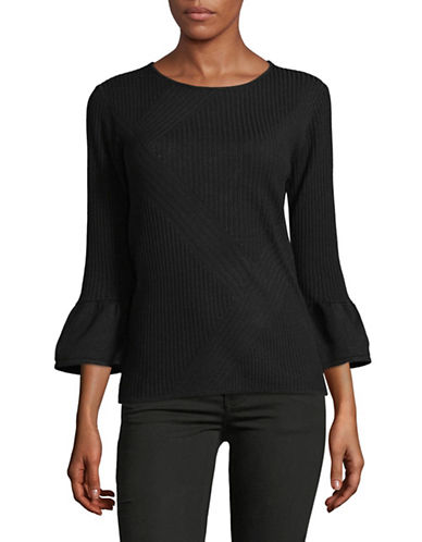 Karl Lagerfeld Paris Ribbed Bell-Sleeve Sweater-BLACK-X-Large