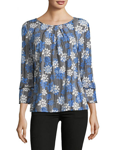 Karl Lagerfeld Paris Floral-Print Ruffle Blouse-BLUE-Small