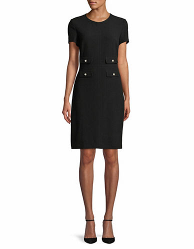 Karl Lagerfeld Paris Faux Pearl Short-Sleeve Sheath Dress-BLACK-12