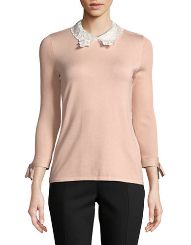 Karl Lagerfeld Paris Bow and Lace Collar Pullover-BLUSH-X-Small