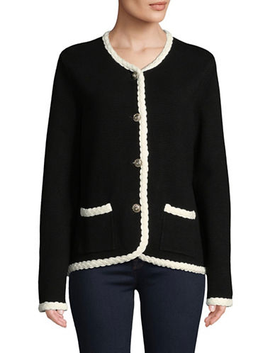 Karl Lagerfeld Paris Long-Sleeve Braided Cardigan-BLACK-Small