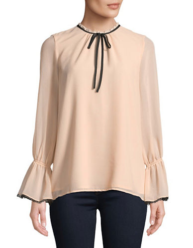Karl Lagerfeld Paris Tie-Neck Chiffon Top-BLUSH-X-Small
