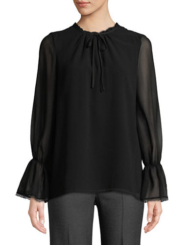 Karl Lagerfeld Paris Tie-Neck Chiffon Top-BLACK-Large
