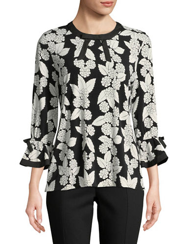 Karl Lagerfeld Paris Bow Detail Floral-Print Top-BLACK-Large