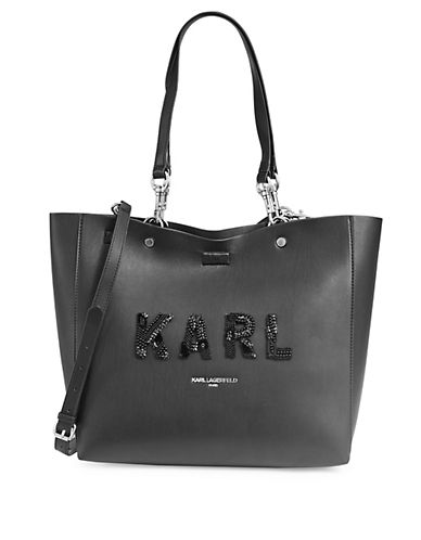 Embellished Logo Leather Tote by Karl Lagerfeld Paris