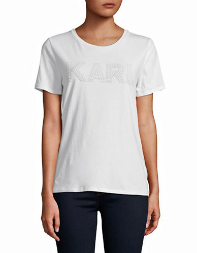 Karl Lagerfeld Paris Beaded Logo Short-Sleeve Tee-WHITE-Small
