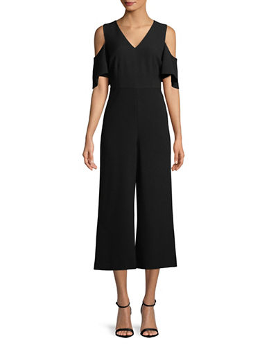 Karl Lagerfeld Paris Crepe Cold-Shoulder Jumpsuit-BLACK-10