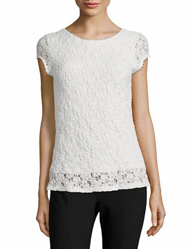 Karl Lagerfeld Paris Short-Sleeve Lace Top-WHITE-Small