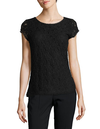 Karl Lagerfeld Paris Short-Sleeve Lace Top-BLACK-X-Large