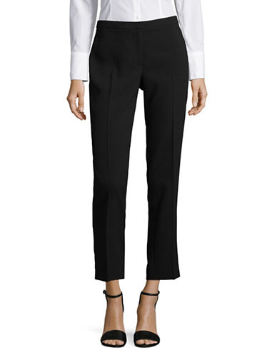 Karl Lagerfeld Paris Straight Crepe Pants-BLACK-6