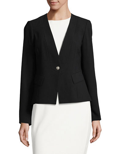 Karl Lagerfeld Paris One-Button Crepe Blazer-BLACK-12