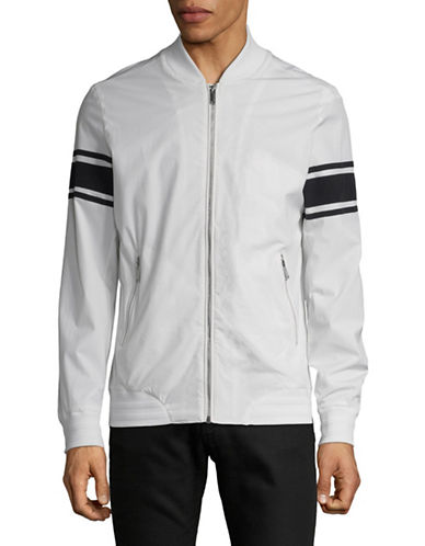 Karl Lagerfeld Striped-Sleeve Bomber Jacket-WHITE-X-Large 89822346_WHITE_X-Large
