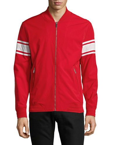 Karl Lagerfeld Striped-Sleeve Bomber Jacket-RED-Medium 89822349_RED_Medium