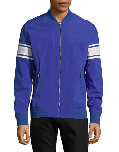 Karl Lagerfeld Striped-Sleeve Bomber Jacket-BLUE-XX-Large 89822342_BLUE_XX-Large