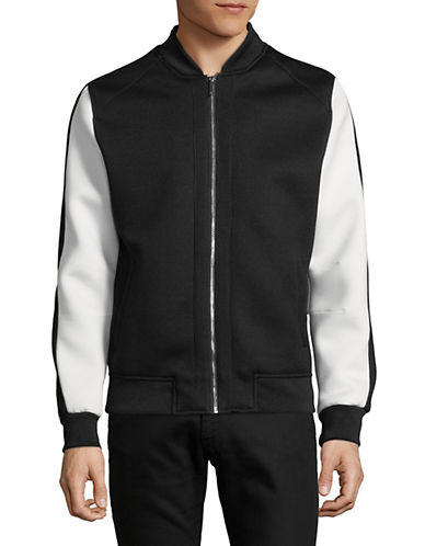 Karl Lagerfeld Colourblocked Mesh Bomber Jacket-BLACK-XX-Large 89822363_BLACK_XX-Large