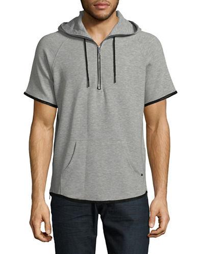 Karl Lagerfeld Short-Sleeve Half-Zip Hoodie-GREY-X-Large 89866873_GREY_X-Large