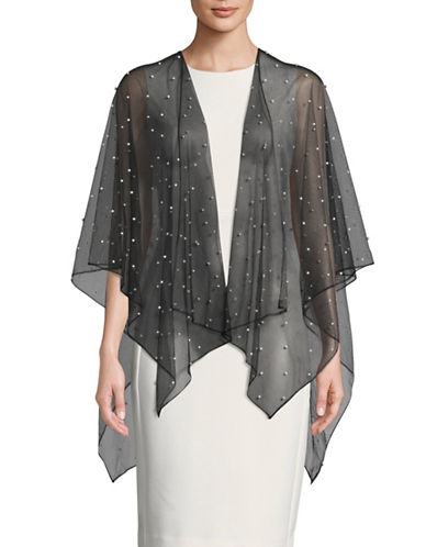 Karl Lagerfeld Paris Pearl Sheer Capelet-BLACK-S/M