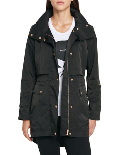 Karl Lagerfeld Paris Snap-Front Packable Rain Jacket-BLACK-X-Large 89846996_BLACK_X-Large