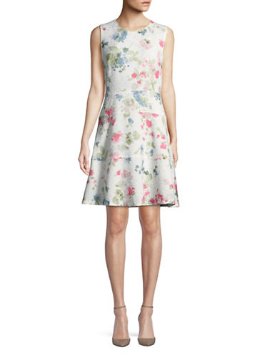 Karl Lagerfeld Paris Jacquard Fit-And-Flare Dress-WHITE MULTI-2