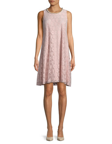Karl Lagerfeld Paris 3D Lace A-Line Dress-PINK-6