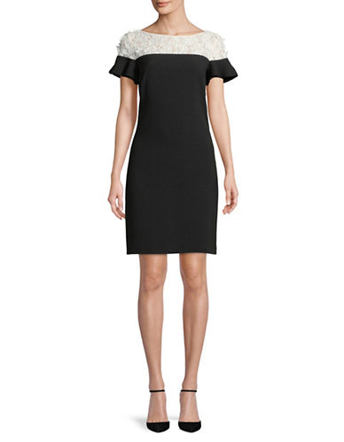 Karl Lagerfeld Paris Lace-Trimmed Shift Dress-BLACK/WHITE-4