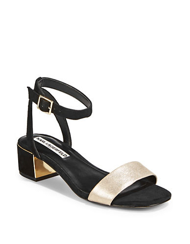 Karl by Karl Lagerfeld Leather T-Strap Sandals