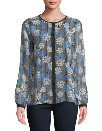 Karl Lagerfeld Paris Printed Button-Down Shirt-BLUE-Small