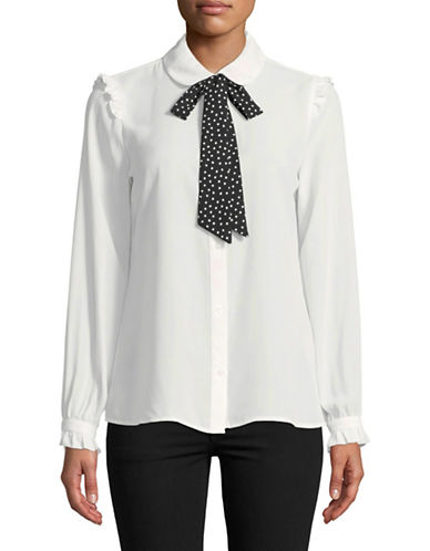 Karl Lagerfeld Paris Polka Dot Bow Button-Down Shirt-WHITE-Small