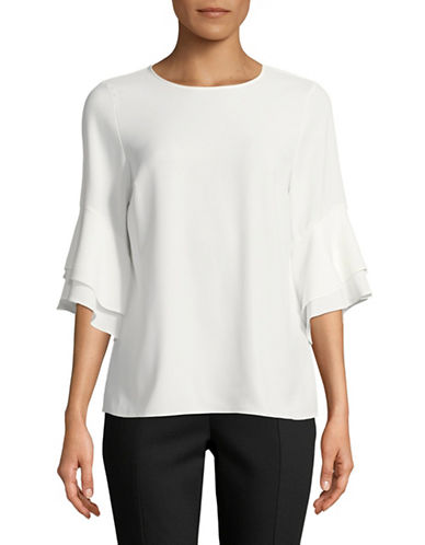Karl Lagerfeld Paris Layered Flutter-Sleeve Blouse-SOFT WHITE-Large